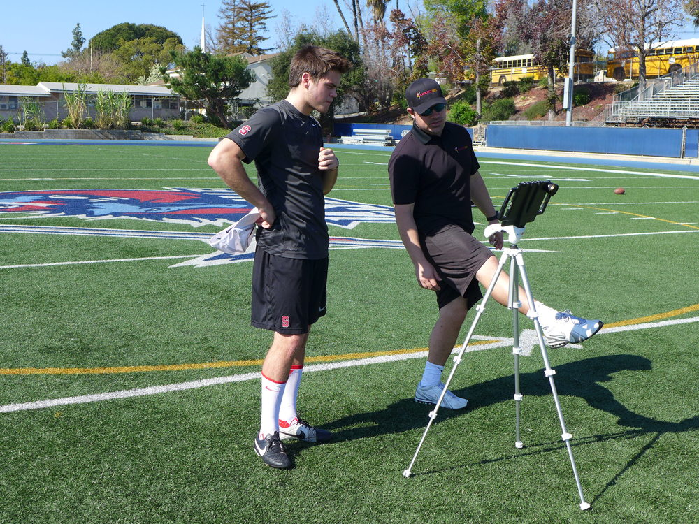kicking1on1 head instructor mike macgillivray working with stanford kicker/punter conrad ukropina