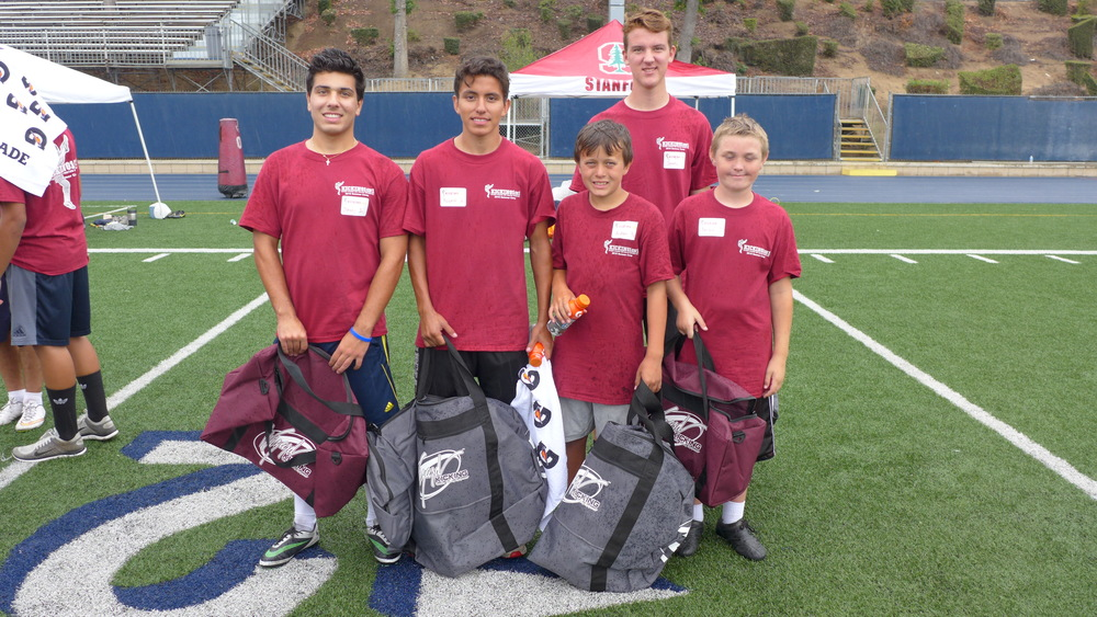 kicking1on1 2015 summer camp champions: (from left to right): johnny clarizio, la salle high school, kicking runner-up, robert amaral, south pasadena high school, punting champion, aidan flintoft, middle school kicking champion, james mcclune, loyola high school, high school kicking champion, herbie barber, middle school runner-up