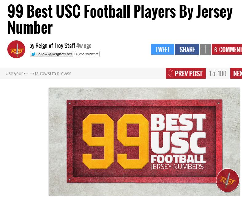 99 Best USC Football Players By Jersey