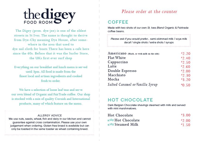 Digey Food Room Menu 1