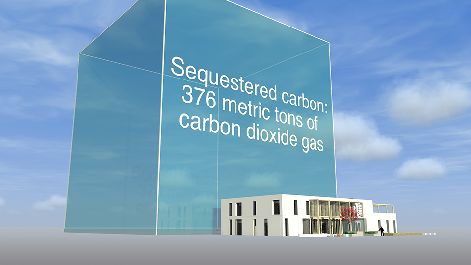 The sequestered carbon for the Nucleus building at Hayesfield Girls' School, Bath