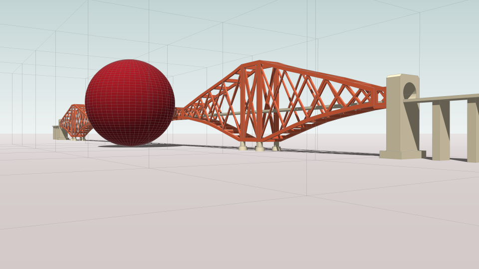 Perspective sketch (Carbon Visuals) of one day sphere (140.88 metres diameter) with cubic grid with dimensions of 140.88 metres. The tower height of the bridge is 100.6 metres.