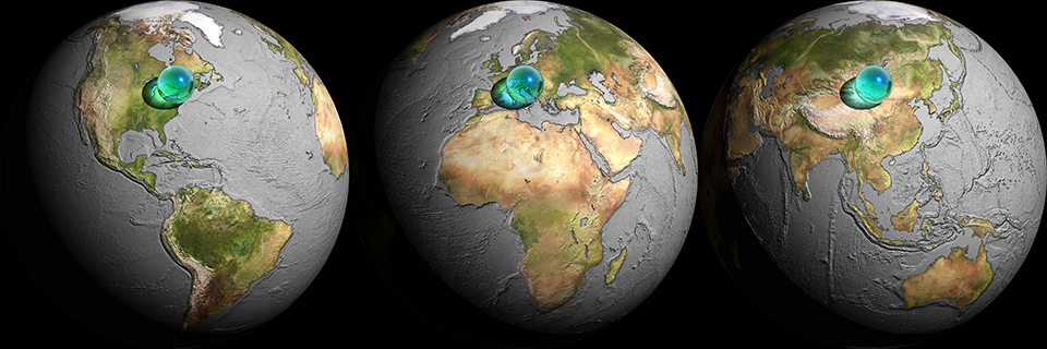 Three views of  All the water in the world  (2003)  There is 1,408.7 million cubic kilometres of water on Earth, but 97.25% of it is sea water. All the water in the world, including sea water, would form a sphere 1,391 km across.  Water data: Elizabeth Kay Berner and Robert A. Berner, 1987, The Global Water Cycle: Geochemistry and Environment, Prentice Hall, Inc., Englewood Cliffs, N.J, Table 2.1, p 13