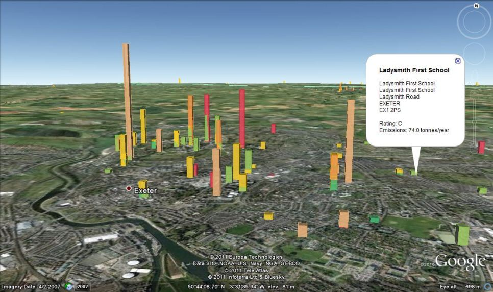 A wider angle view of the carbon footprint of London's public buildings based on floor area