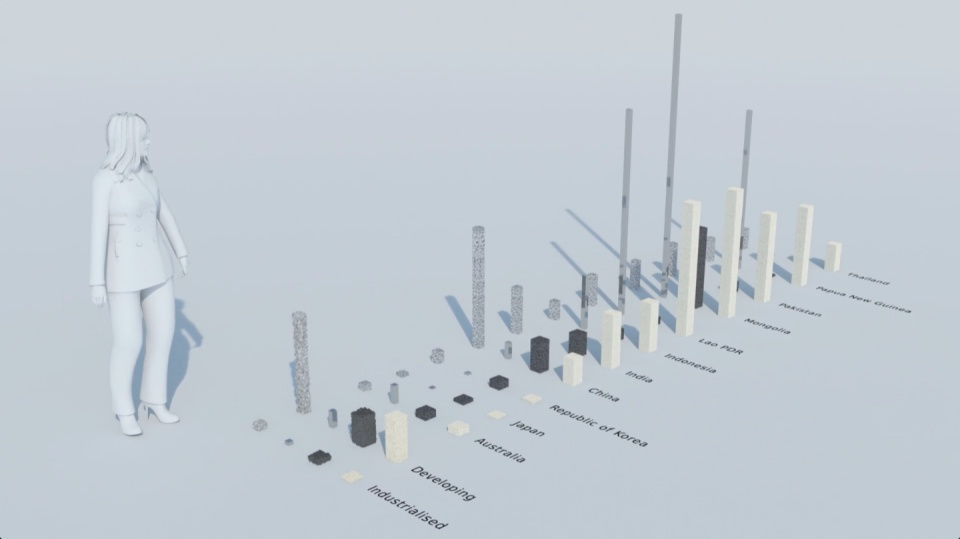 Image from film: Actual volume of biomass, fossil fuels, metals and minerals required to generate one dollar of GDP