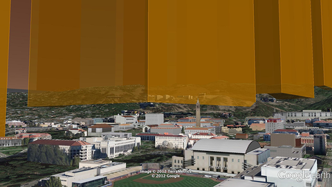 The base of the 2,578 feet wide bar-chart as seen from Berkeley