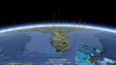 A view from Florida with 574 x 574 feet columns.