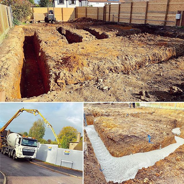 The foundations are complete on our new build project #buildersofig #newbuild #construction #site #buildingsite #concrete #foundations #excavation #concretepouring