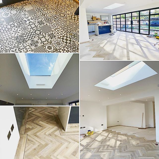 Flooring is almost complete and looking great on one of residential projects 👌#buildersofig #builder #refurbishment #residentialconstruction #residential #decor #decorations #painting #skylight #openplan #bifolds #slidingdoors #herringbone #tile
