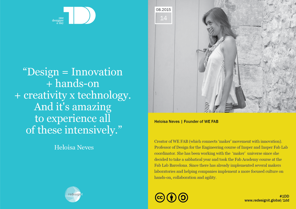 """I think design is intense, it's mixed . It's unifying different expertises and see situations where design can be applied. Design is transdisciplinary, connects people and situations, makes them collaborate. Being designer for me is someone who can get other people to see innovative ways through hands-on and technology, with great creativity and agility of thought and action."""