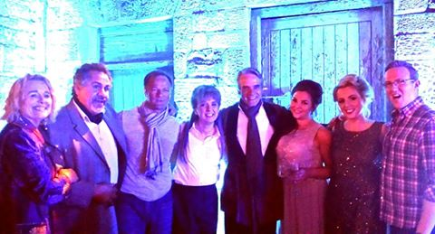 Screen and theatre legends Jeremy Irons and Sinead Cusack meeting the cast after the performance