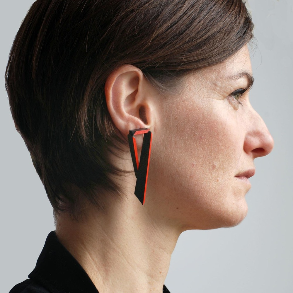 Long Angled Earrings - Black & Red - modelled.jpg