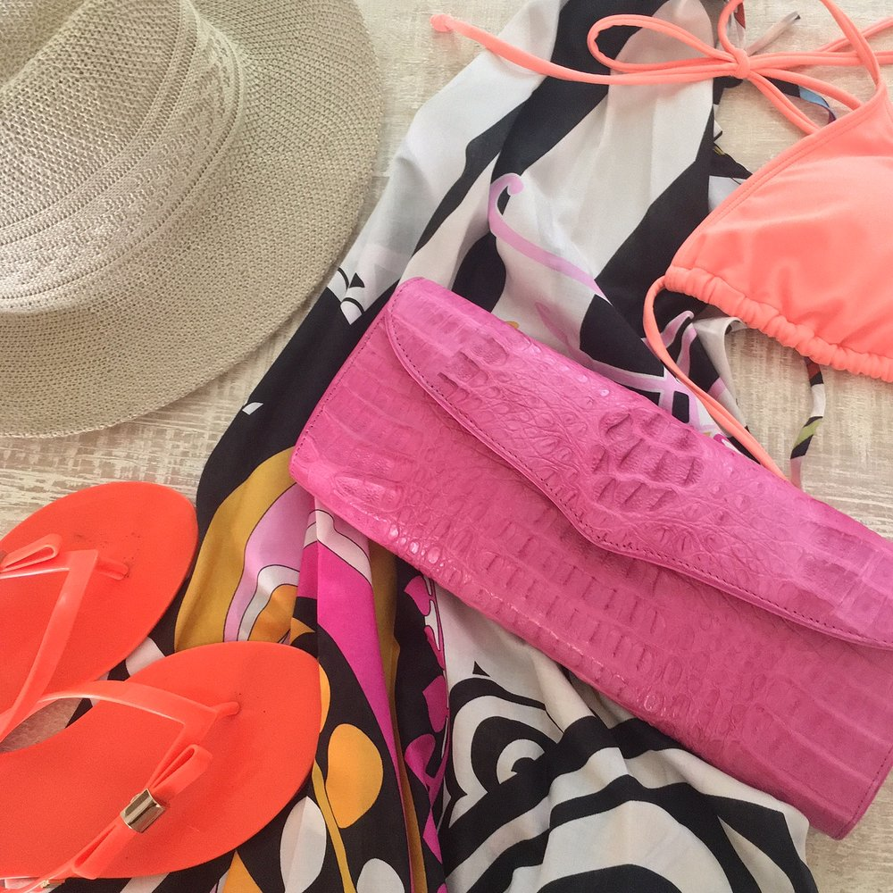 Everything you need for the perfect endless summer look, Mersur, Melissa Sandals, Roxy Hat, Dolls Swimwear Bikini and a WH Petronella clutch