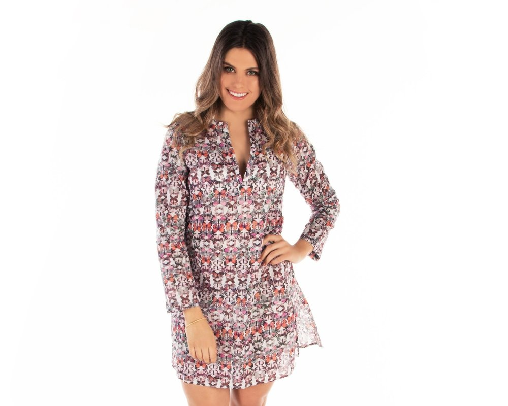 f6dabd40103d7 Mersur The Lulu Cotton Cover Up Tunic is Mariposa Magic Print