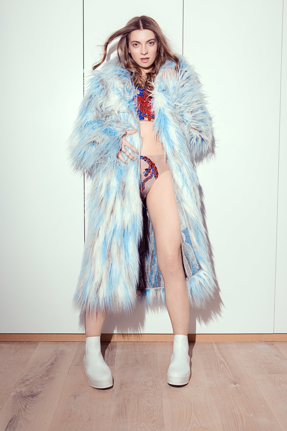 SCV heart top & knickers:  Olga Noronha Jewellery ; Faux fur coat:  Alexandra Moura ; Boots:  Ante London