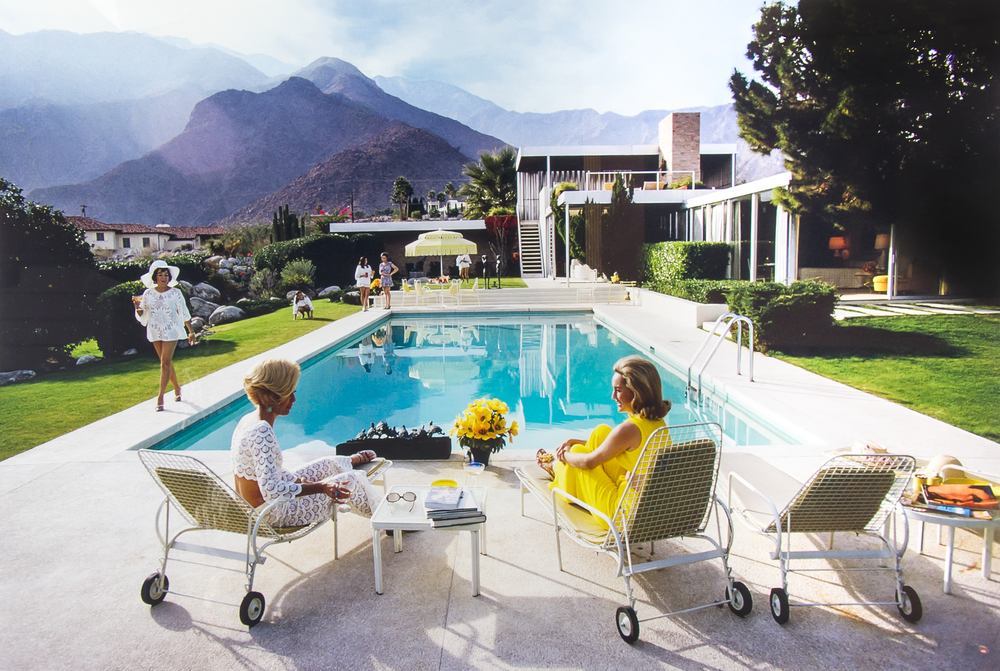'Poolside Gossip' Located at a desert house in Palm Springs designed by Richard Neutra for Edgar Kaufman, 1970.