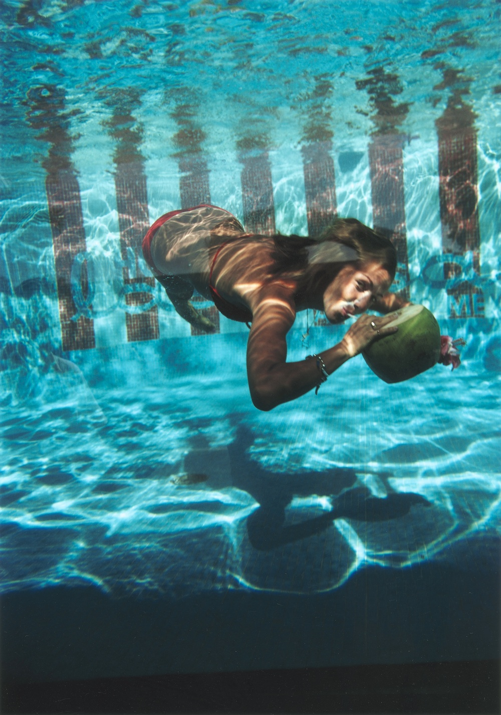 'Underwater Drink' In the pool at Las Brisas Hotel in Acapulco, Mexico, 1972.