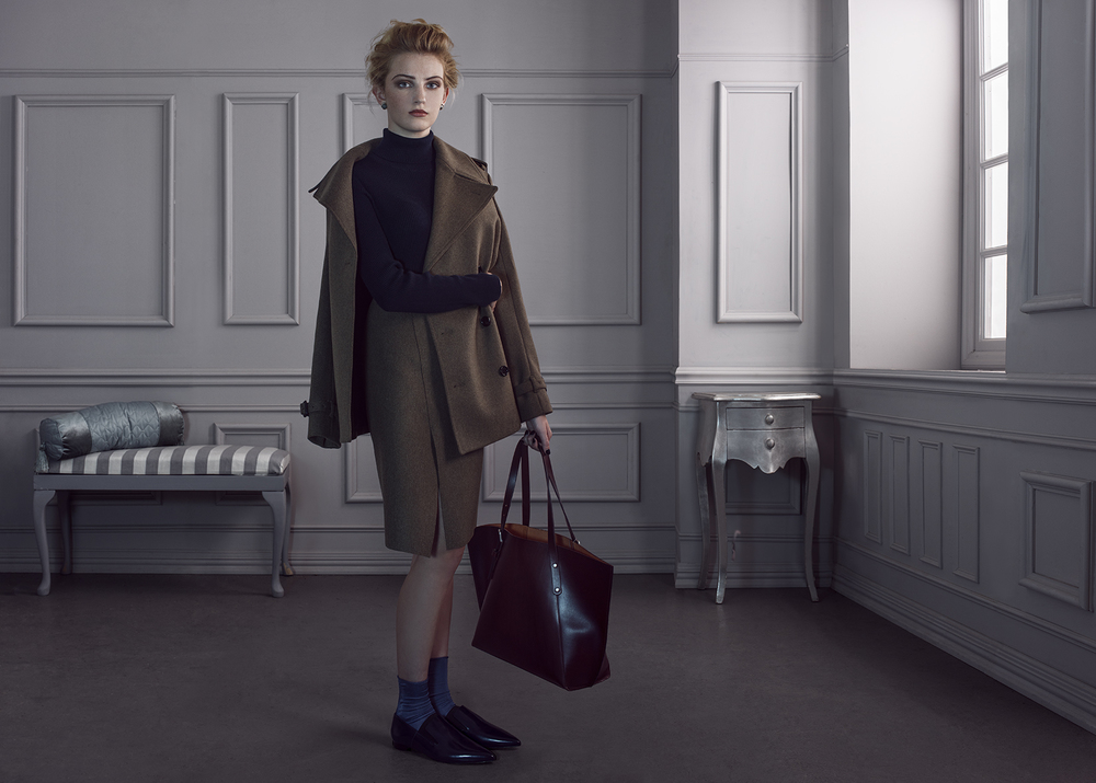 Jacket and Skirt Joseph, Tote and polo neck Next, Sock and Shoes Jonathan Aston