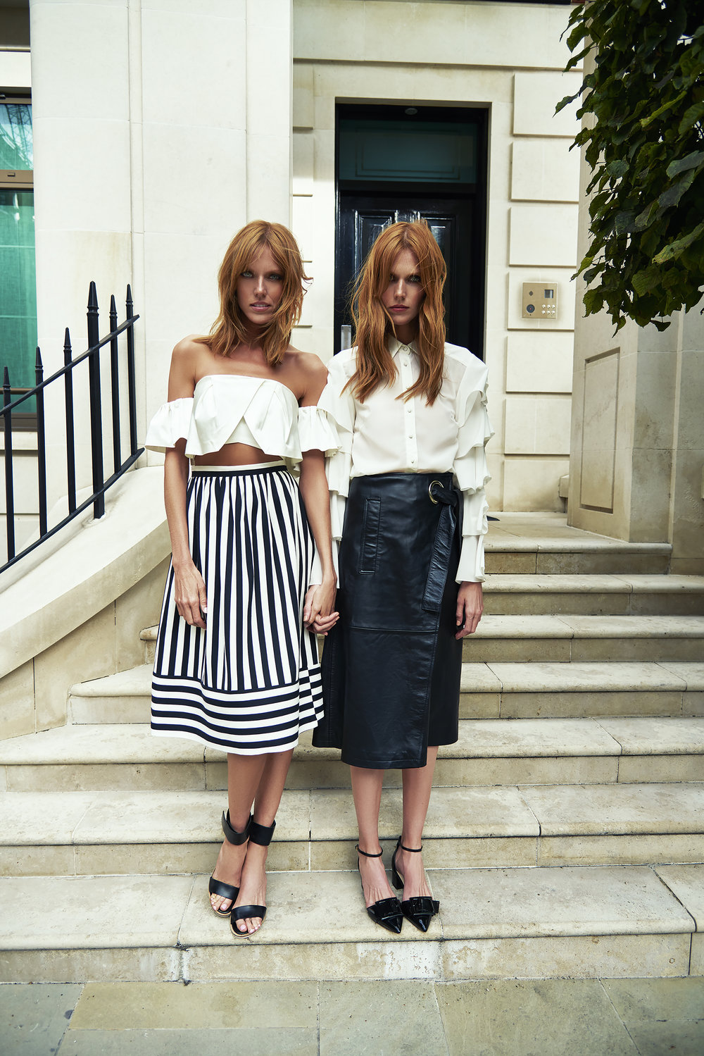 Alice  wears:  Top  Kendall and Kylie , Skirt  Topshop , Shoes  ASOS White    Caroline wears:  Shirt  Lost   Ink , Skirt  Whistles , Shoes  ASOS