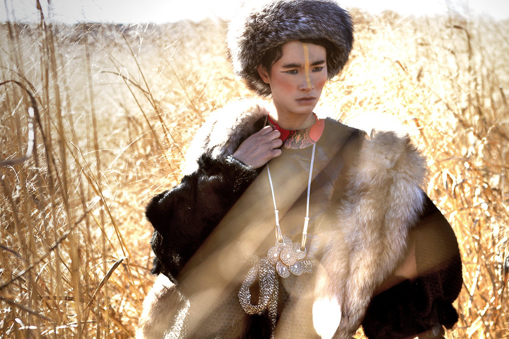 Dress by Harx 4; Scarf and fox fur by Teranchula; Tweed belt with fur tips by Ke Collection; Fur hat by Ke Collection