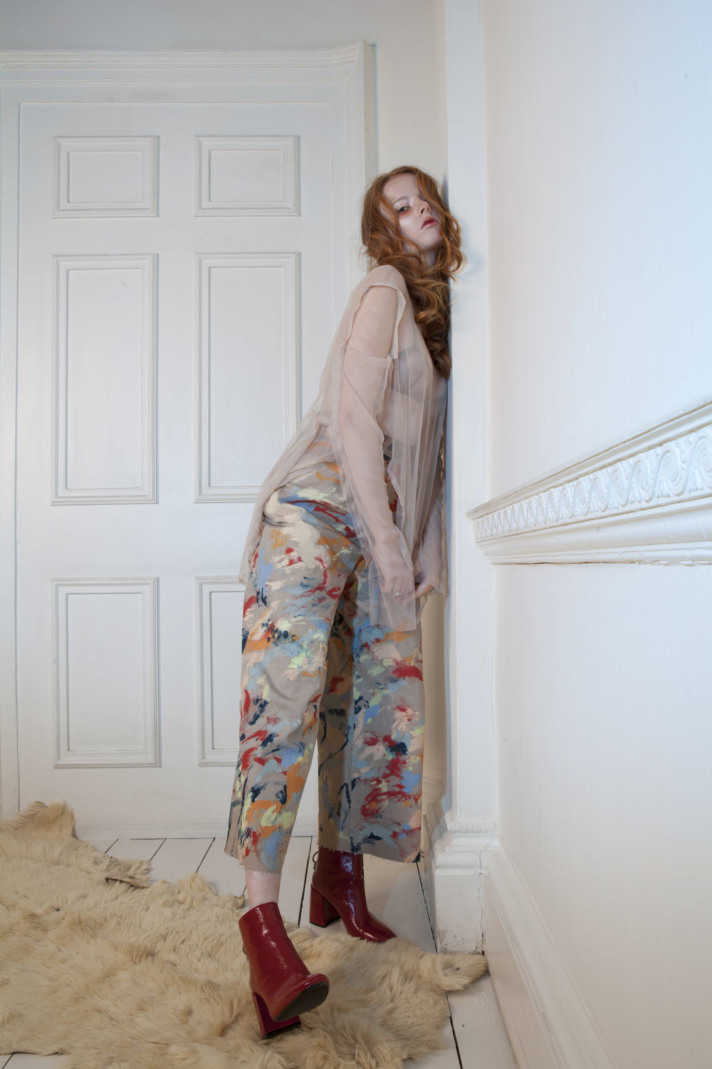 Trouser, Sophie Cull-Candy; Mesh Top & Bra, Laundry Service; Necklaces, Dyberg Kern; Boots, Zara
