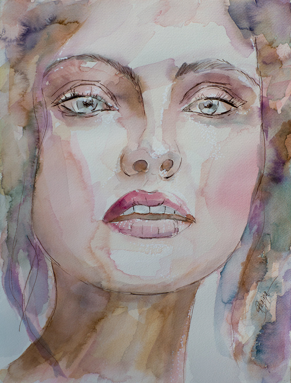 'Respirare'  Watercolour with Ink and Acrylic  Inspired by a photograph by Tina Eisen