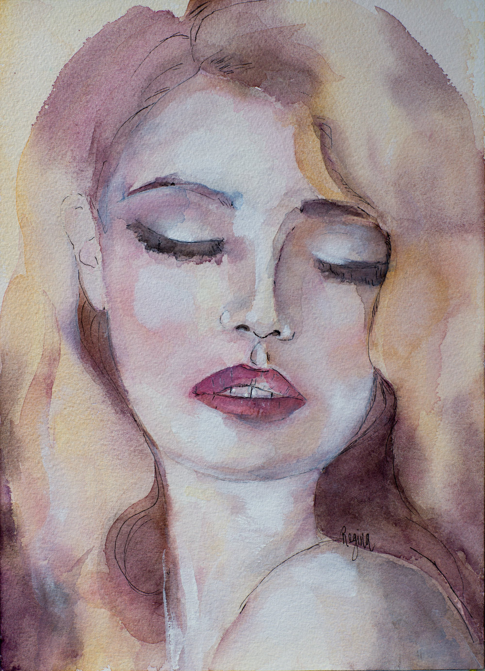 'Lydia'  Watercolour with Ink Pen and Gouache  Inspired by a photograph by Mateusz Sitek
