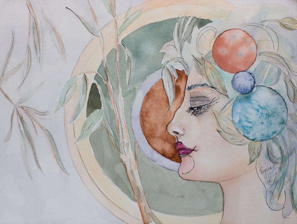 'Ceres'  Watercolour with Ink