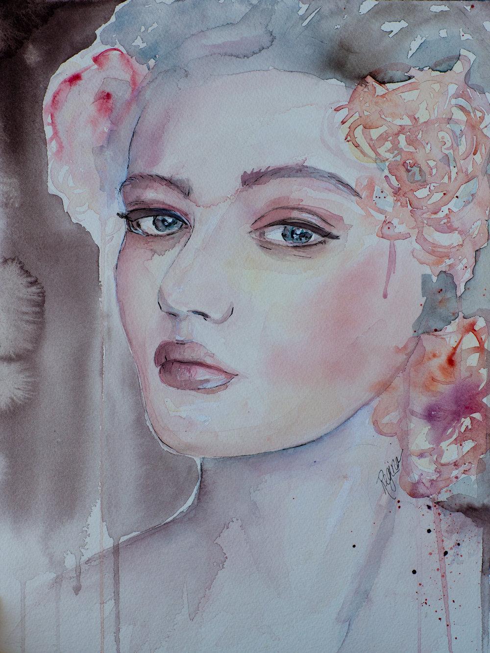 'Chiara'  Watercolour with Ink  Inspired by a photograph nu Mateusz Sitek