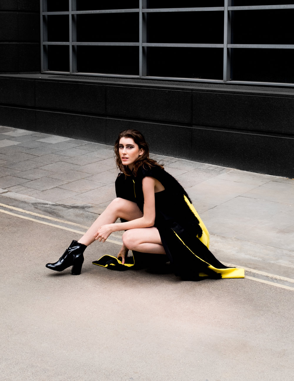 BLACK DRESS - XIAOQIAN SHAO, YELLOW COAT - ANNIE CHOI, BOOTS - ASOS
