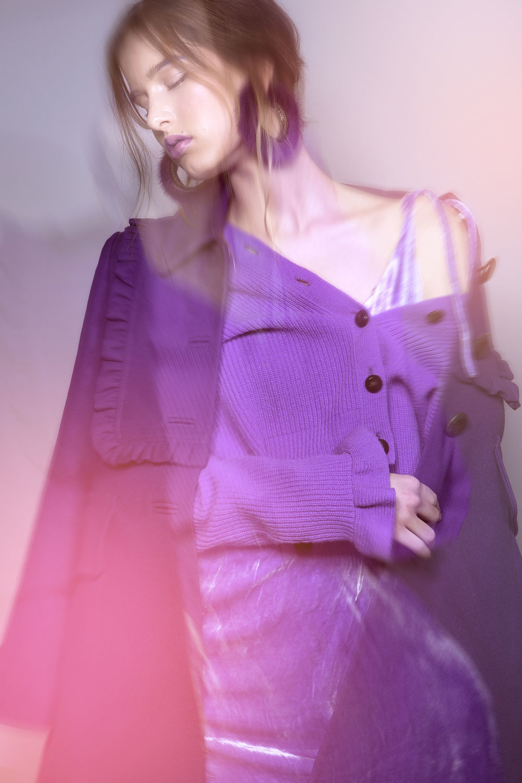 Dress_ CLIO PEPPIATT (YOUNG BRITISH DESIGNERS) Jacket_ ORLA KIELY  Coat_ ORLA KIELY Earrings_RANJANA KHAN Footwear_SUPERGA