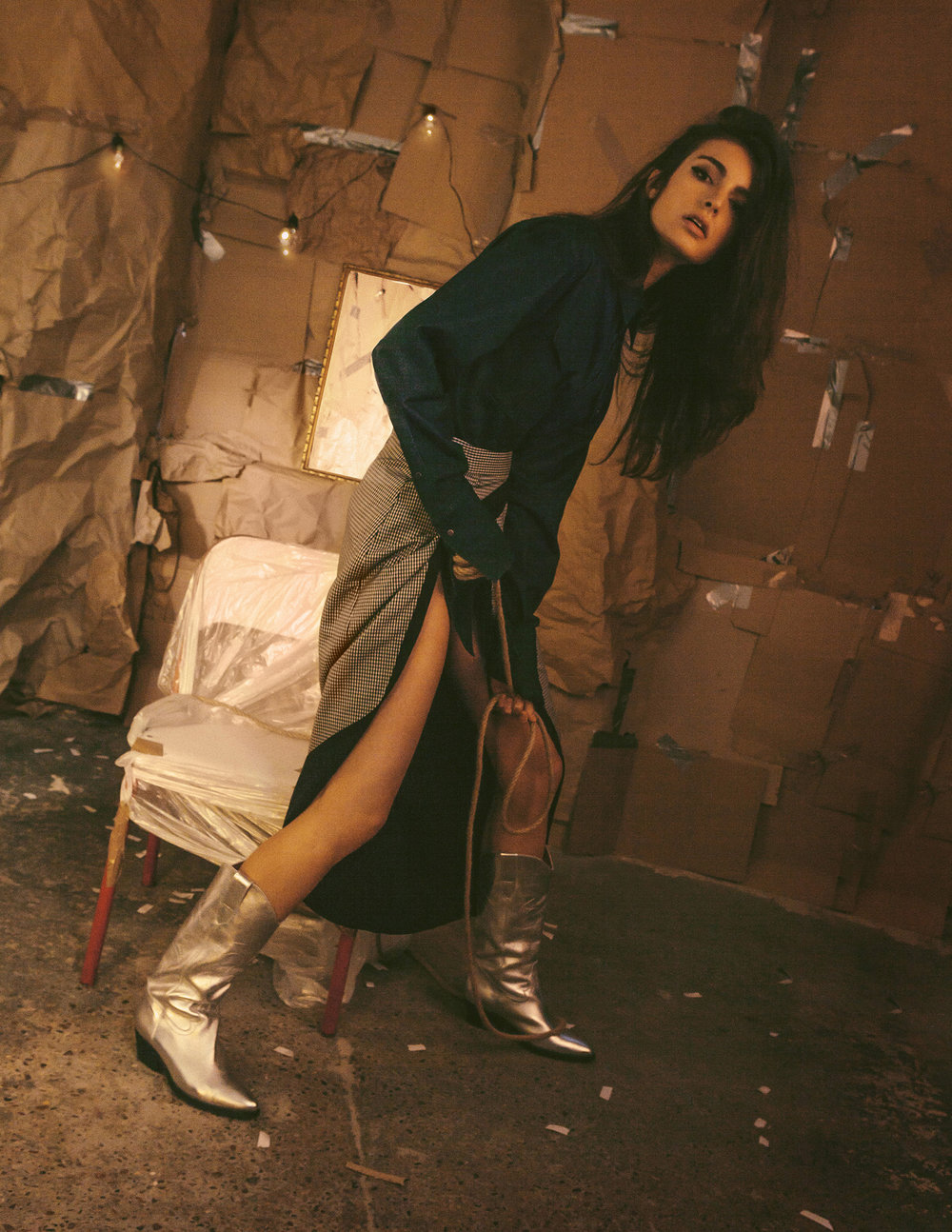 Denim Jacket STEVE JIN @FashionCrossover Top ANNE MARIE KIROLLOS @FashionCrossover Boots Malan Breton