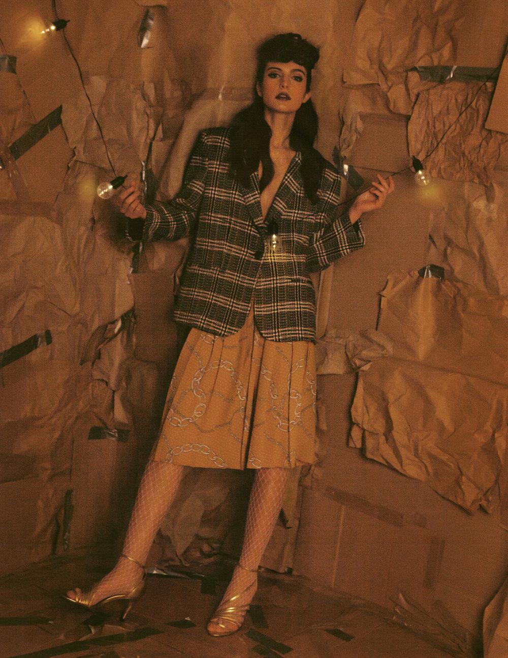 Over sized blazer Zara Chain midi skirt Mango Strappy heel Free People  Fishnet tights - Stylist's own