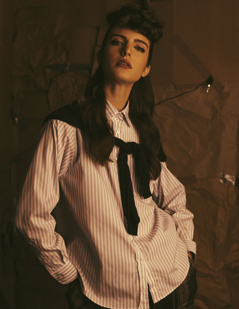 Metallic leather sandals Miu Miu tartan wool-blend tapered pants Vivienne Westwood Stripe shirt Alexa Chung Sweater Genevieve Sweeney