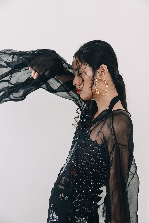 Gown – SUNAINA KHERA Shirt – VIDHI WADHWANI Earring – ROMA NARSINGHANI