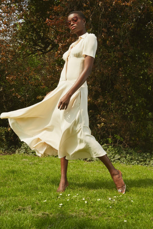 Earrings-Models own   Sunglasses - Kaleos Eyehunters  Dress - Hillier Bartley   Shoes, - Neous
