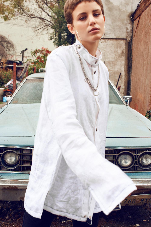 Delfina wearing Shirt - Manov , Pants - Zara