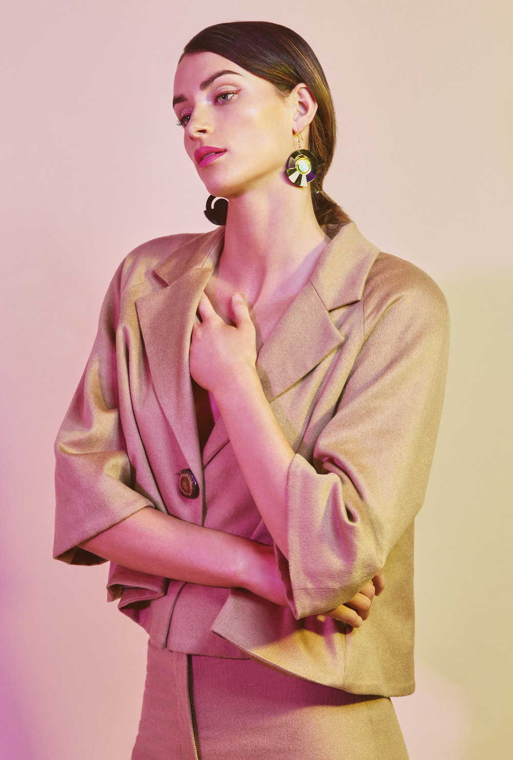 Beige short coat  Andrew Majtenyi   Beige middle long short  Andrew Majtenyi   Earrings  The Pommier form 024