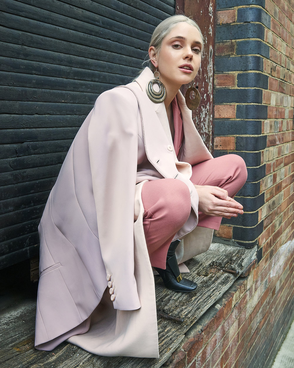 Suit  Theory   Coat  Katharine Hamnett   Top Jacket  Pinko   Earrings  Pebble London   Shoes  Sergio Rossi