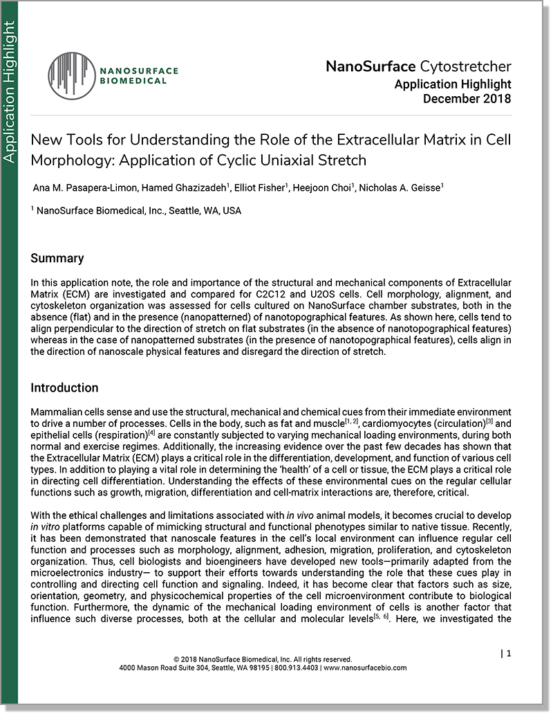 Application of Cyclic Uniaxial Stretch: New Tools for Understanding the Role of the Extracellular Matrix in Cell Morphology - In this application note, the role and importance of the structural and mechanical components of Extracellular Matrix (ECM) are investigated and compared for C2C12 and U2OS cells.