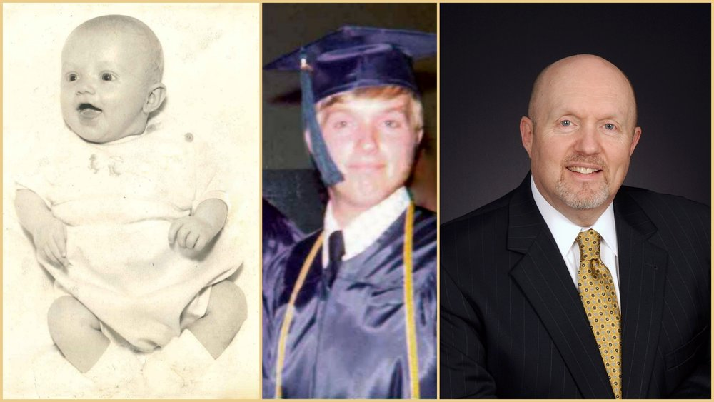 Pastor Greg as a baby, a high school graduate, and now
