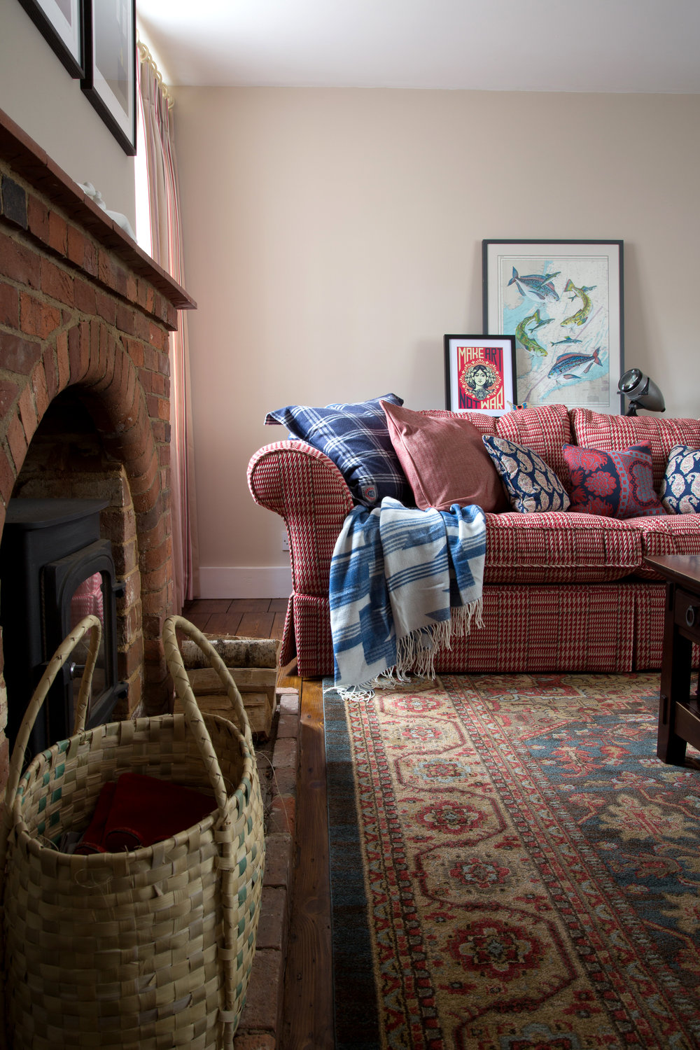 A Beautifully Upholstered Red Sofa You Can Sink Into For Hours in a Grade II Listed Holiday Home in Battle East Sussex – Interior Design by Smartstyle Interiors