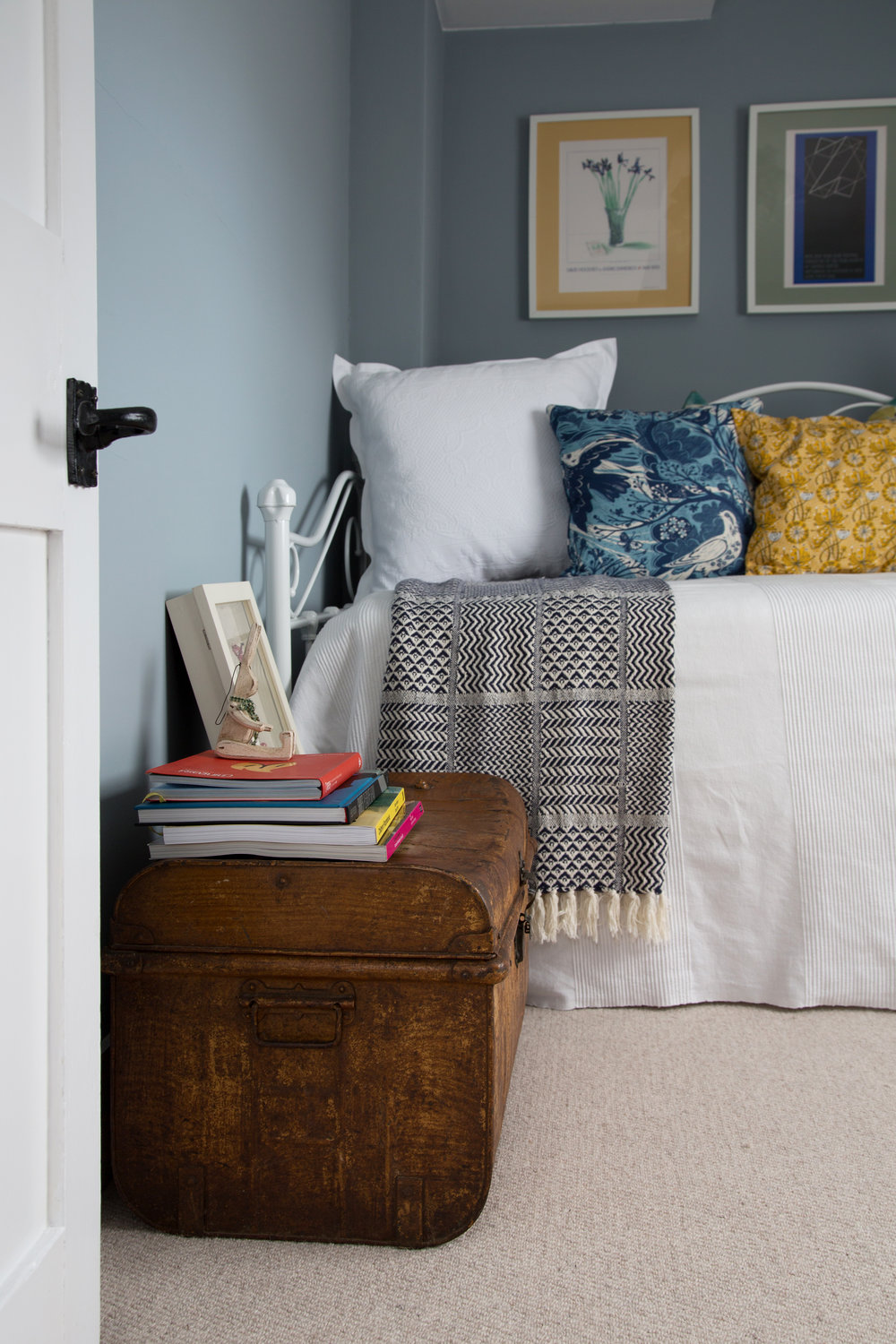 An Old Wooden Trunk Makes a Perfect End Table in th Bright Bedroom of a Grade II Listed Holiday Home in Battle East Sussex – Interior Design by Smartstyle Interiors