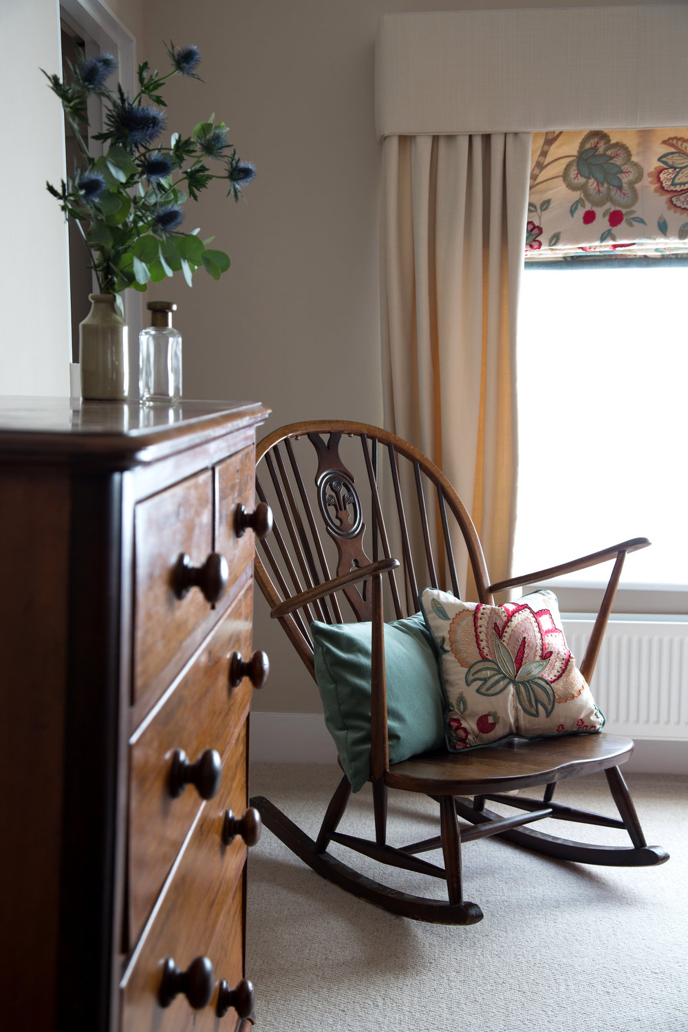 An Elegant Wooden Rocking Chair in a Grade II Listed Holiday Home in Battle East Sussex – Interior Design by Smartstyle Interiors