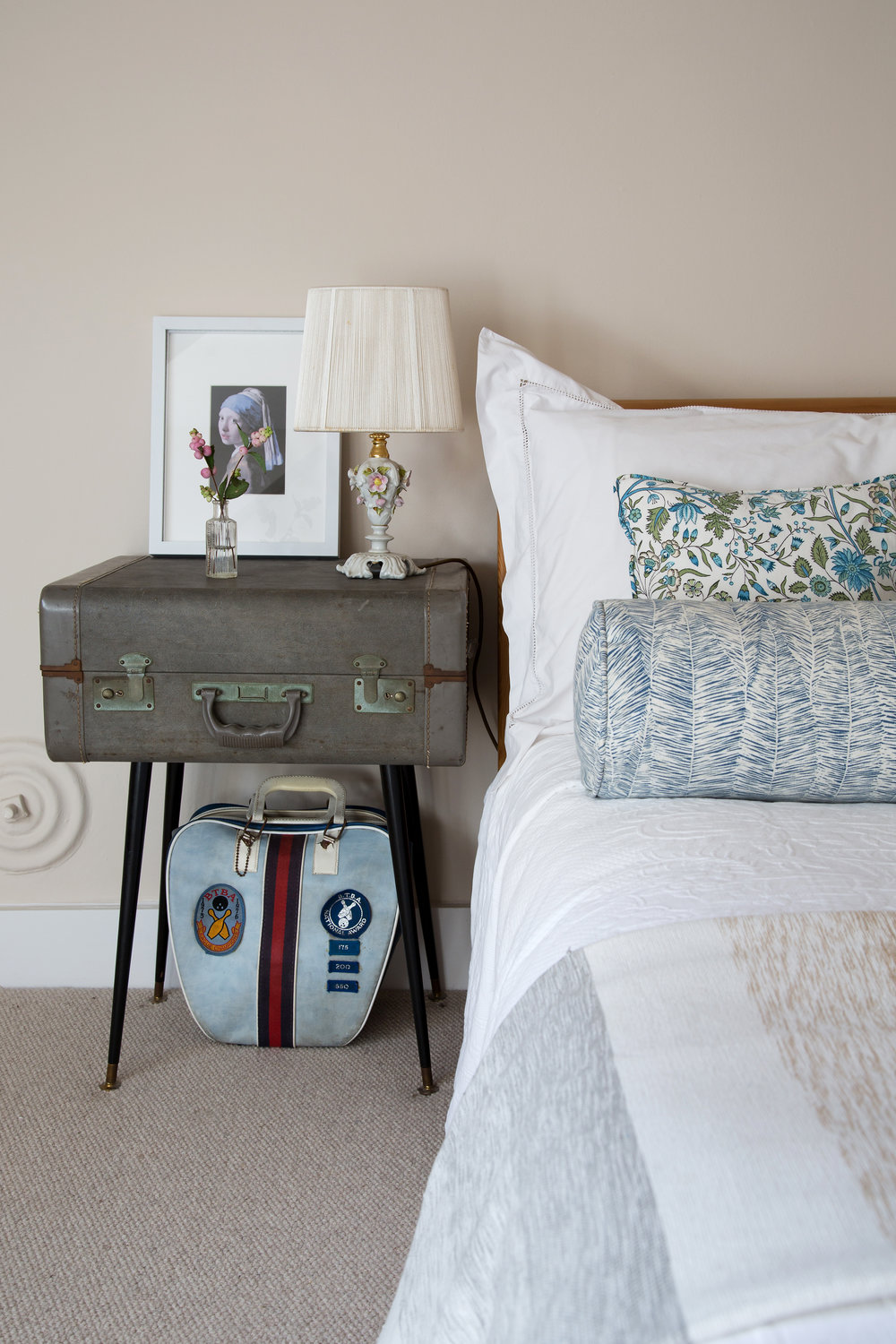 A Suitcase End Table in this Bright Bedroom Design in a Grade II listed home in Battle East Sussex – Interior Design by Smartstyle Interiors