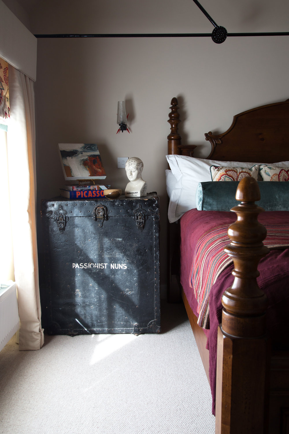 Vintage Trunk Bedside Table in a Grade II Listed Home in Battle East Sussex – Interior Design by Smartstyle Interiors