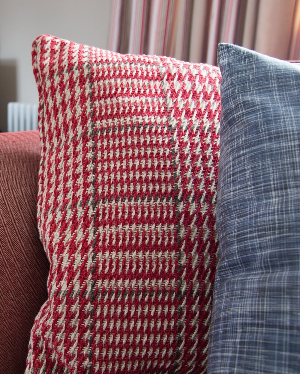 Reupholstered Cushions in Red in a Grade II Listed Home in Battle East Sussex – Interior Design by Smartstyle Interiors