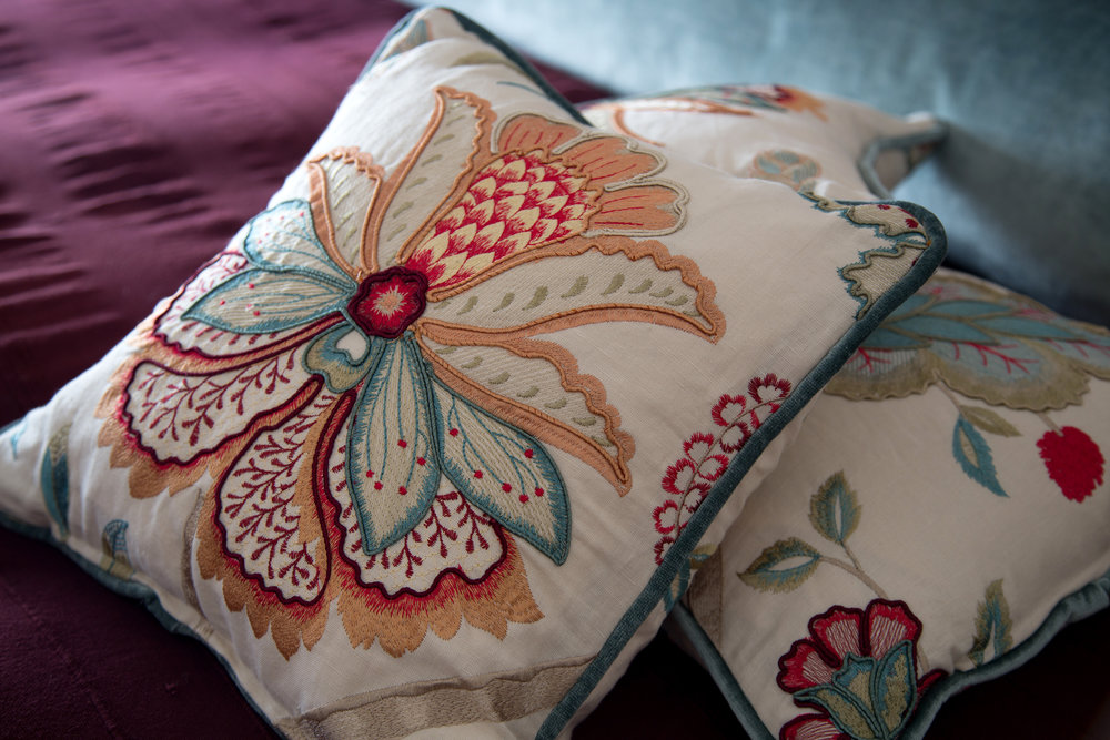 Second-Hand Curtain Fabric is Repurposed for Beautiful Cushions in the Master Bedroom of a Grade II Listed Holiday Home in Battle East Sussex – Interior Design by Smartstyle Interiors