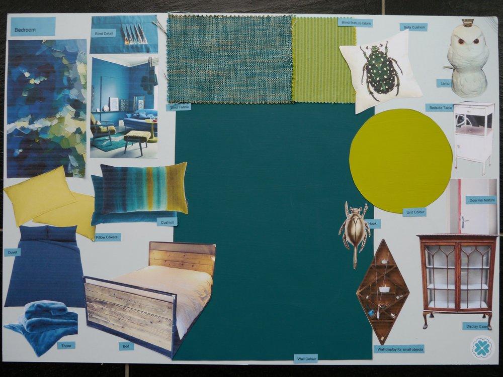 Design board for a tweenager's bold bedroom in Tunbridge Wells Kent - Interior Design by Smartstyle Interiors