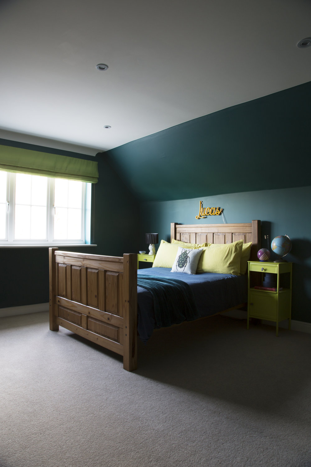 Don't break the bank on your kid's bedroom! This wooden bed frame came second hand from ebay for this tweenager's bedroom in Tunbridge Wells Kent –Interior Design by Smartstyle Interiors